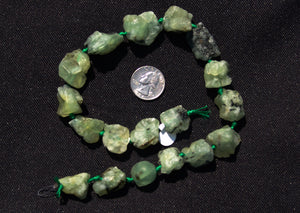 Natural Green Quartz Chunk Beads  Unpolished Graduated 16x18 - 22x26mm