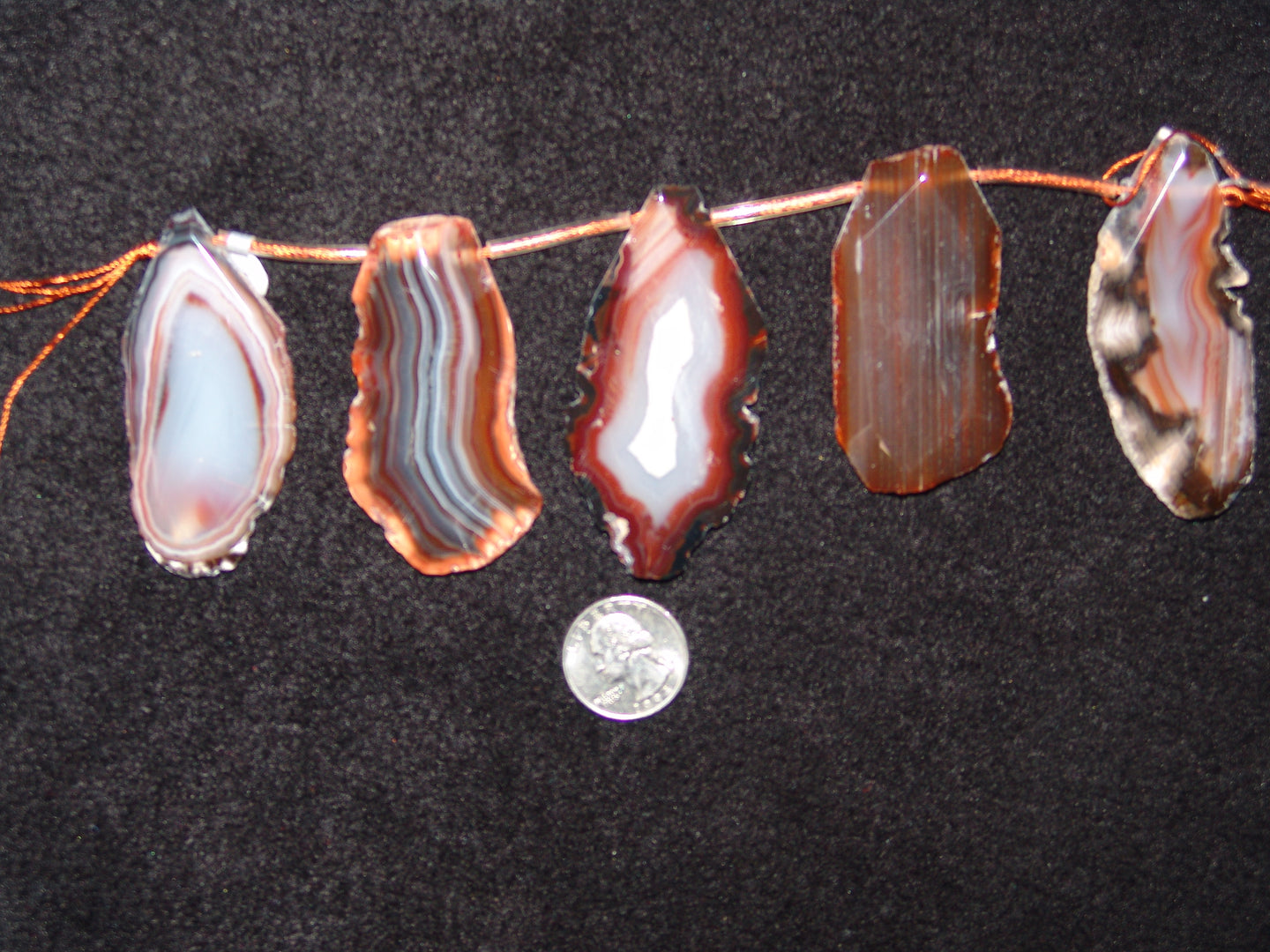 Brown Agate Focal Bead Strand