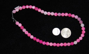 Frosted Pink Round Agate Beads