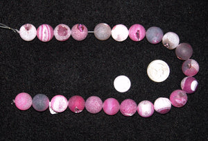 Frosted Greyish Pink Round Agate Beads