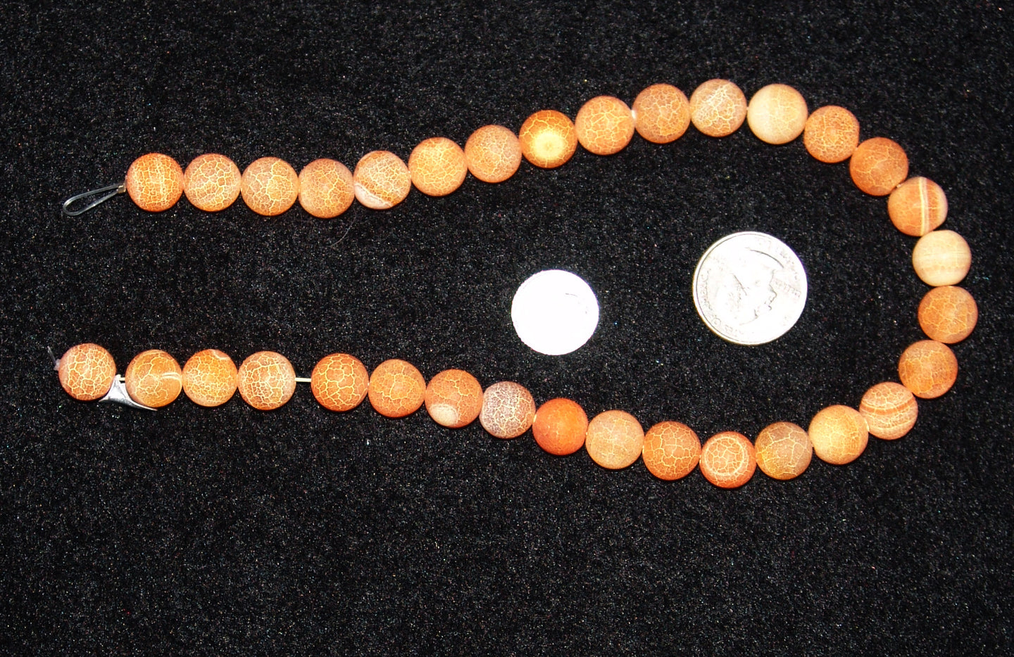 Frosted Orange Round Agate Beads