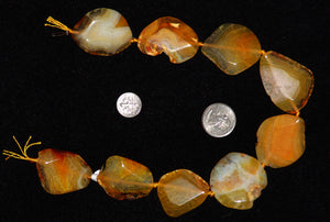 Gold Agate Freeform Polished Beads