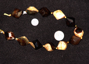 Brown 18 Facet Natural Agate Stone Beads 24x30mm