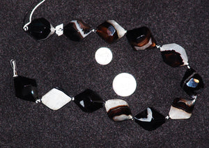 Black 18 Facet Agate Natural Stone Beads