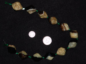 Brown 18 Facet Natural Agate Stone Bead Strand