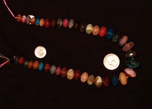 Multi-Color Natural Agate Faceted Polished Graduated Center Drilled Disc Bead