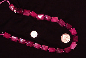 Double Pyramid Magenta Natural Agate Stone Beads