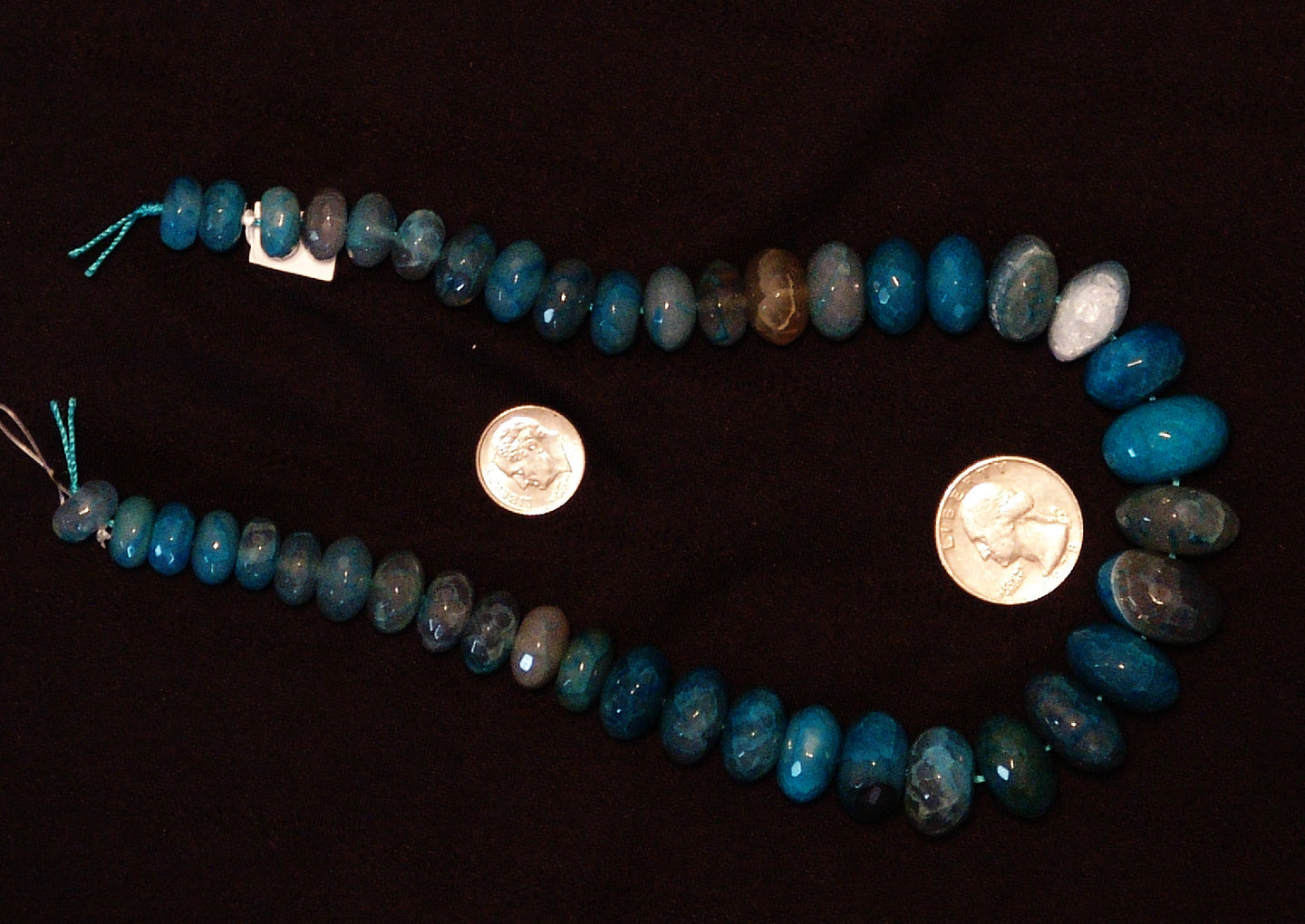 Blue Natural Agate Faceted Polished Graduated Disc Beads