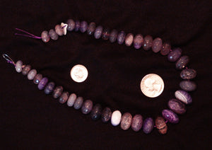 Purple Natural Agate Faceted Polished Graduated Center Drilled Disc Beads