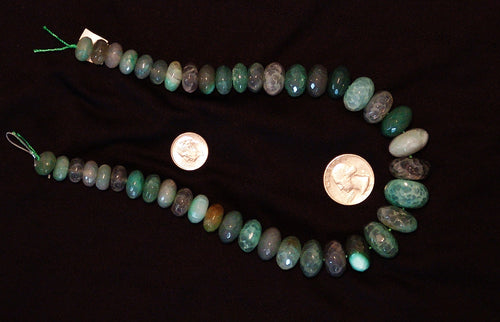 Green Natural Agate Faceted Polished Graduated Center Drilled Disc Beads