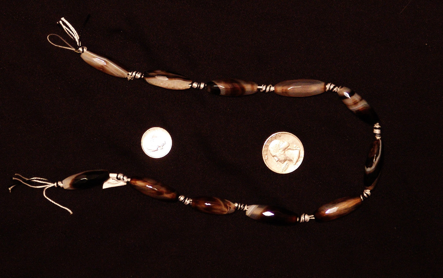 Brown Natural Agate Faceted Polished Rice Beads
