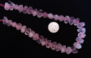 Rose Quartz Faceted Chunk Beads