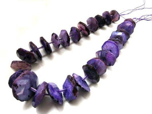Purple Agate Faceted Wheel Beads