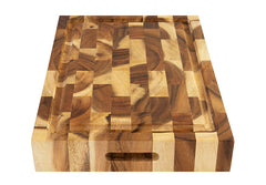 Villa Acacia End Grain Cutting Board with Groove 17 x 12 x 2.5