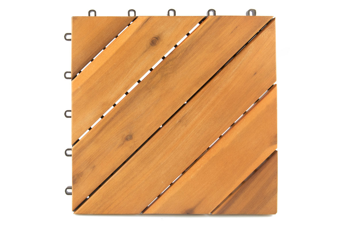 Villa Acacia Wood Interlocking Deck Tiles 12 x 12 Inch (10 Pk)
