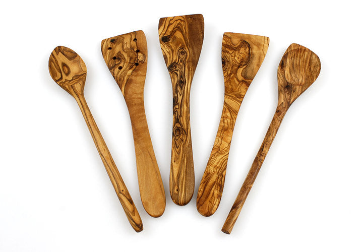 Tramanto Olive Wood Spatulas and Spoons Utensil Set of 5