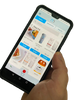 hand holding phone displaying nutrimeals app