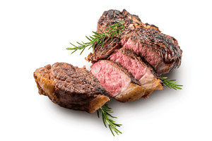 rare sirloin steak prepared on white background