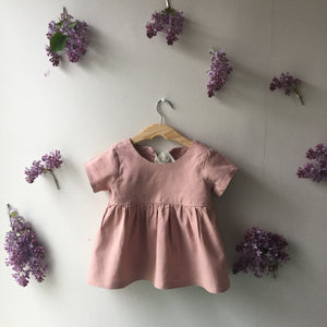 Olivia Short Sleeve Linen Blouse in Rose Pink