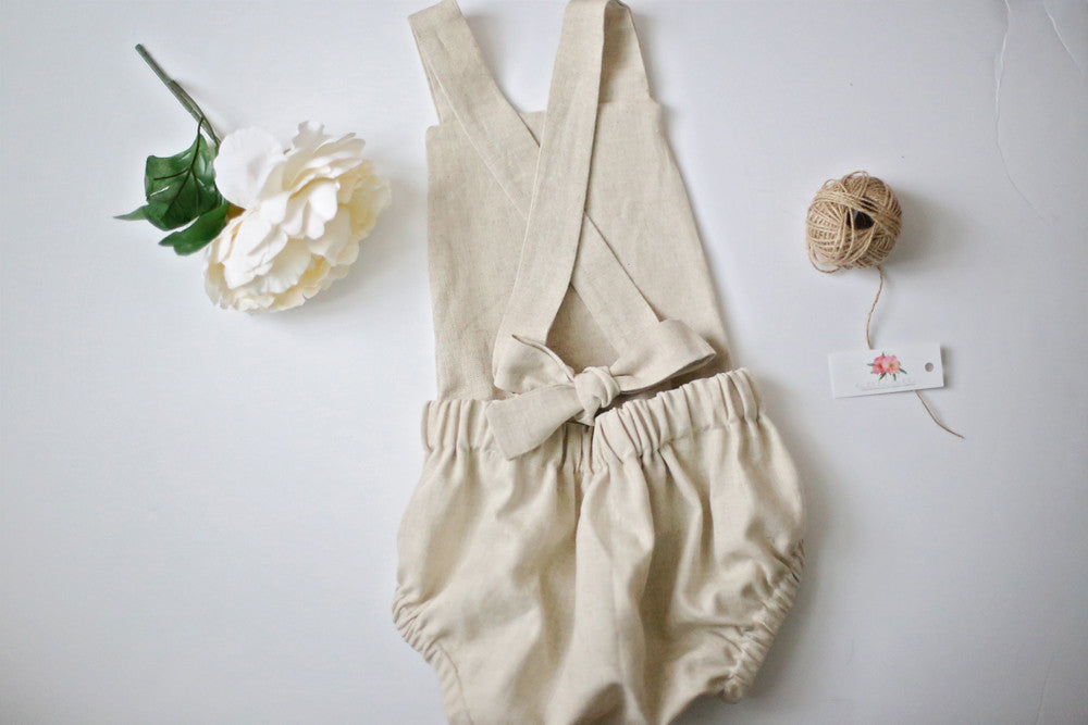 Charlotte Linen Romper in Natural