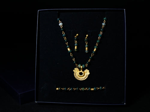 Pre-Colombian Earring, Necklace & Bracelet Jewelry Set (1249-10-G02)