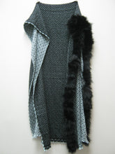 Blue Black Diamond Cashmere Stole with Fur Trim (1288-00FT-G05)