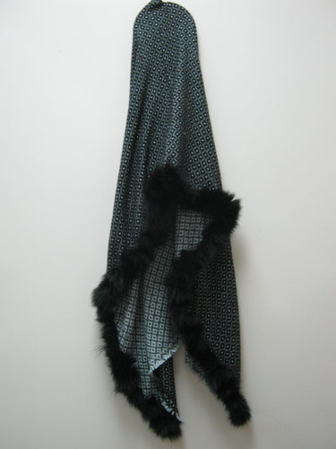 Blue Black Diamond Cashmere Stole with Fur Trim