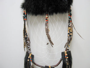Huron Black Bear Fur Dreamcatcher (1311-G-G01)