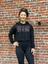 KEEP PORTLAND STRONG CROPPED HOODY - BLACK / PURPLE