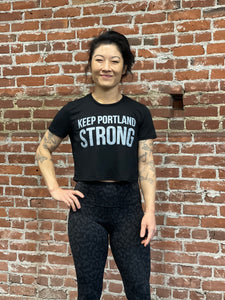 KEEP PORTLAND STRONG CROP TEE - BLACK / GREY