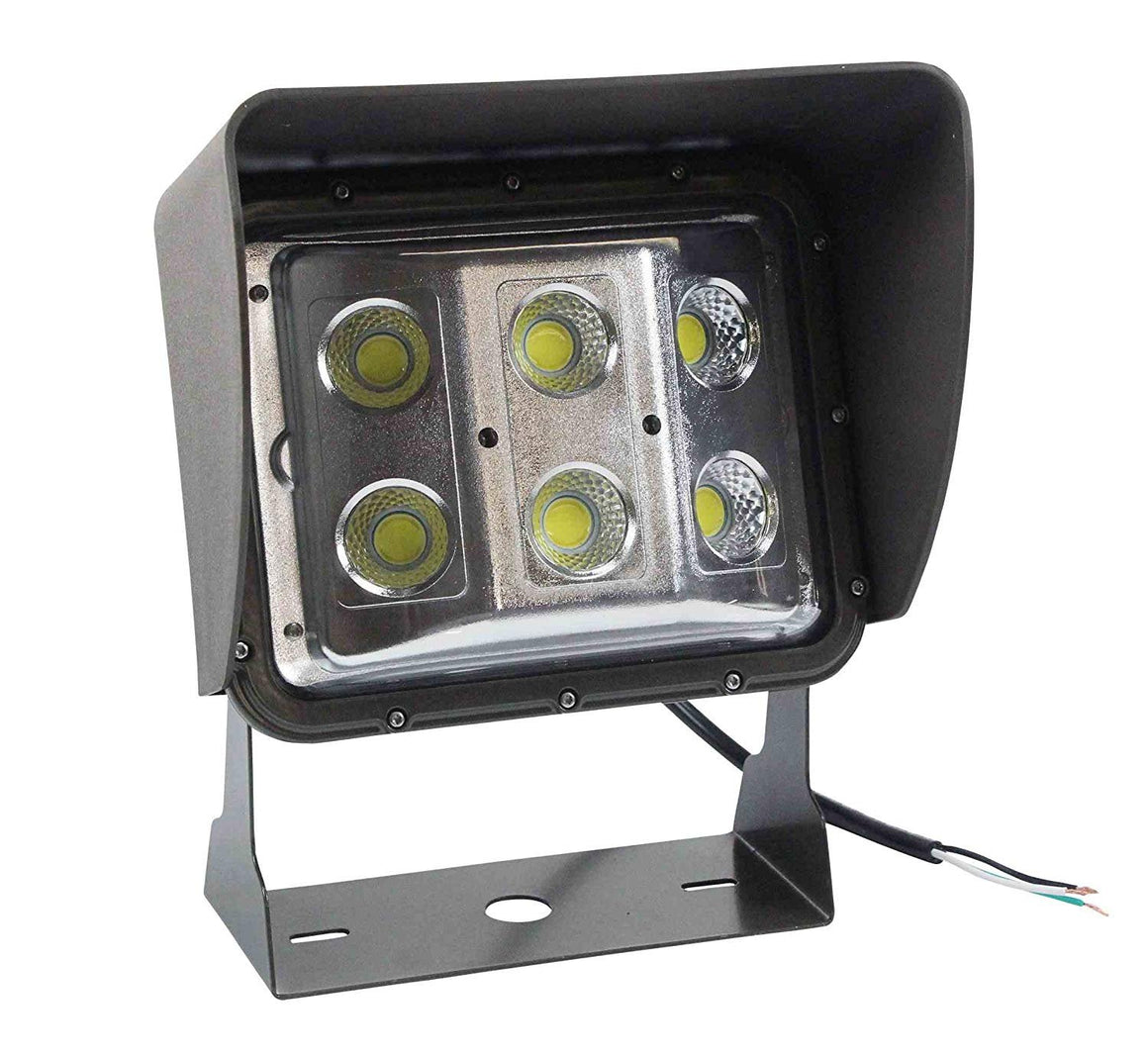 60 Watt Low Profile LED Wall Pack Light with Glare Shield - Wide Flood Beam - U-Bracket Mount