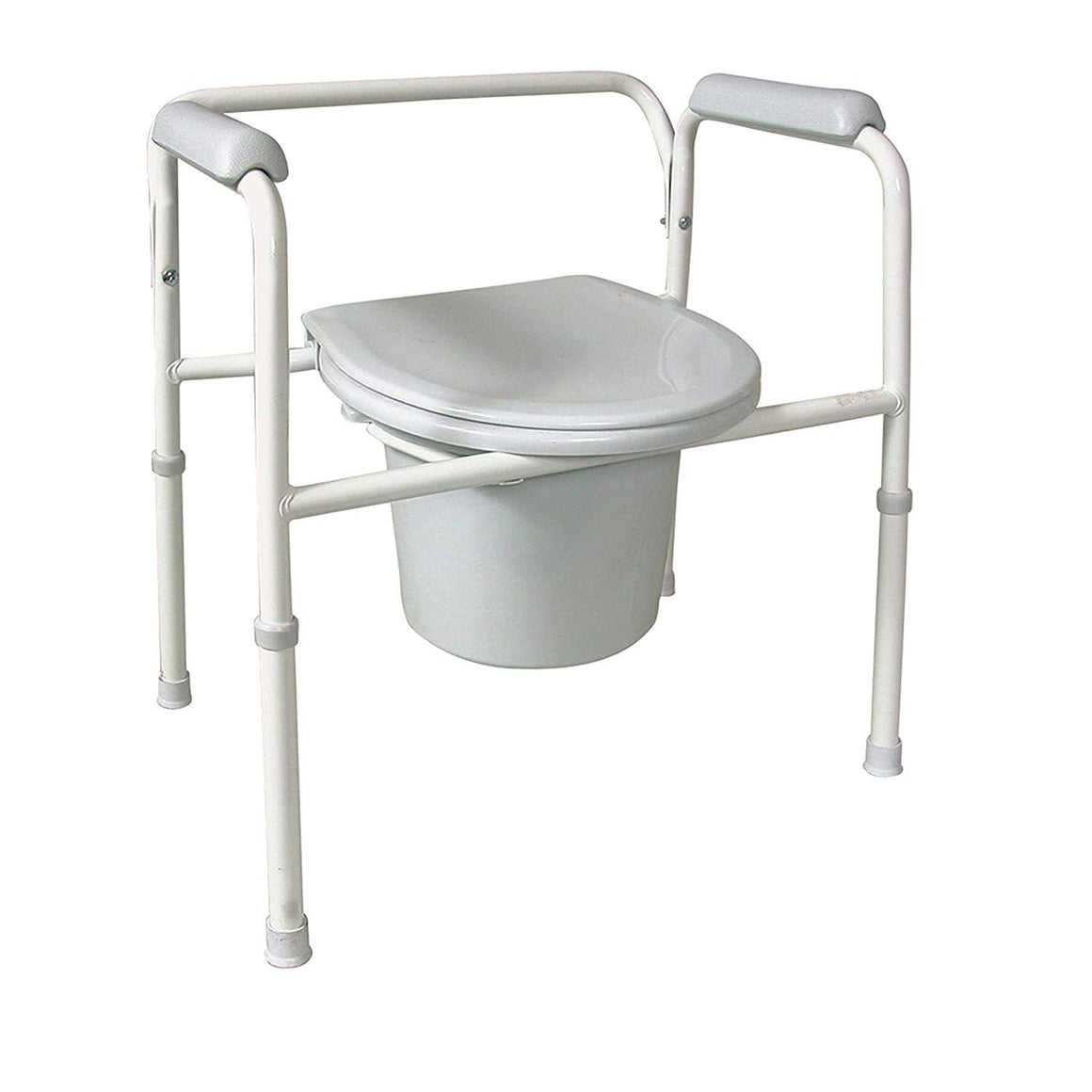 DMI Deluxe Steel Bedside Commode with Contoured Armrests, Removable Backrest and Lid, Adjustable Height, No-Tool Assembly
