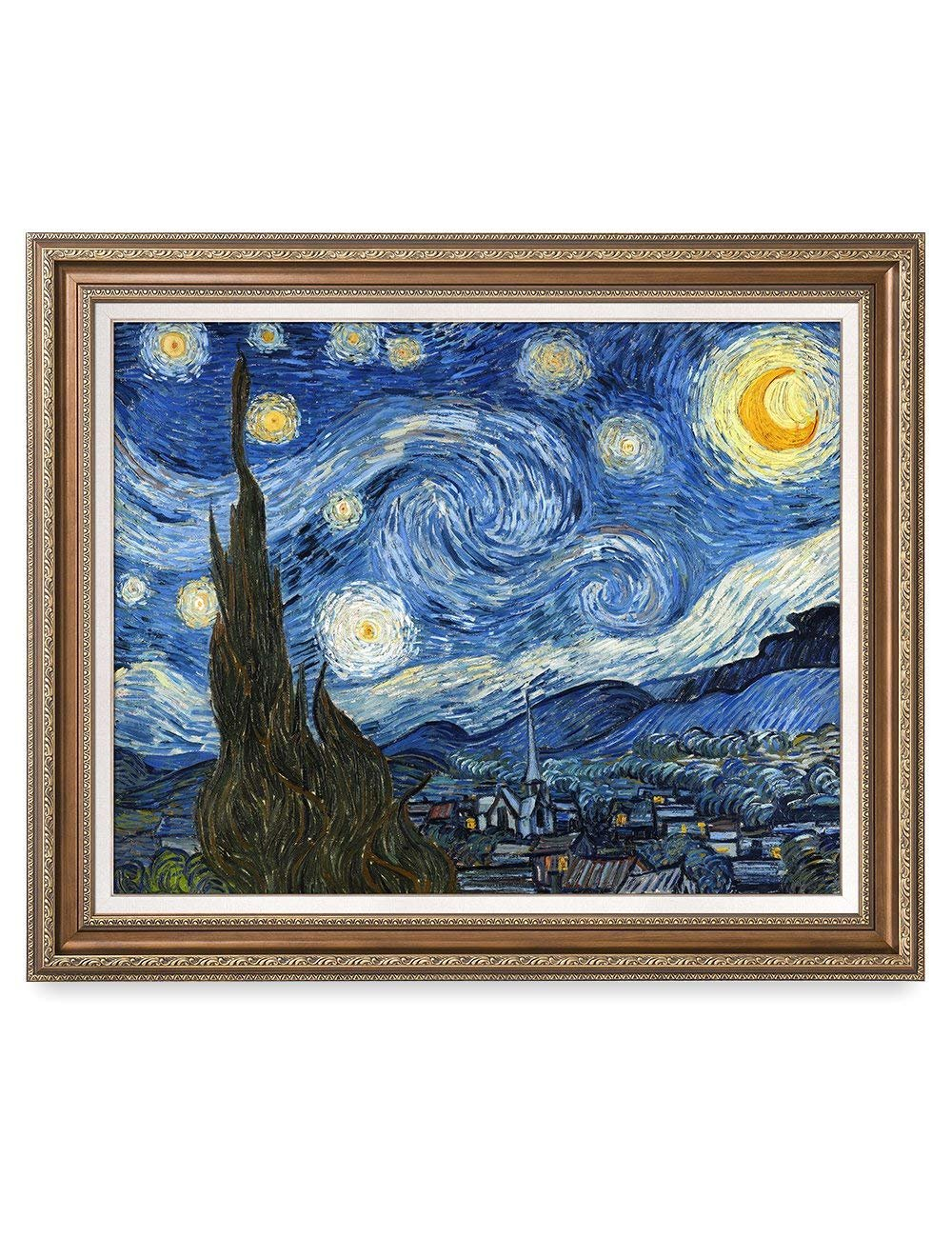 DECORARTS - Starry Night, Vincent Van Gogh Classic Art. Giclee Prints Framed Art for Wall Decor. Framed Size: 35x29