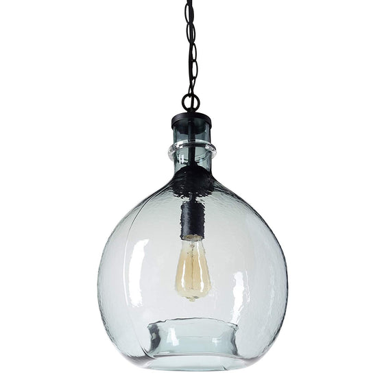 CASAMOTION Wavy Hammered Hand Blown Glass Pendant Light, 1 hanging Light, 13'' diam.19.9''h, Gray Blue