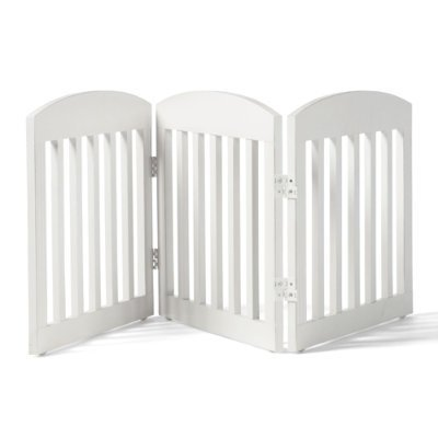 "20""H Freestanding Wooden Pet Gate - Antique White, 3-panel (72-3/4""W x 3/4""D x 20""H.) - Grandin Road"