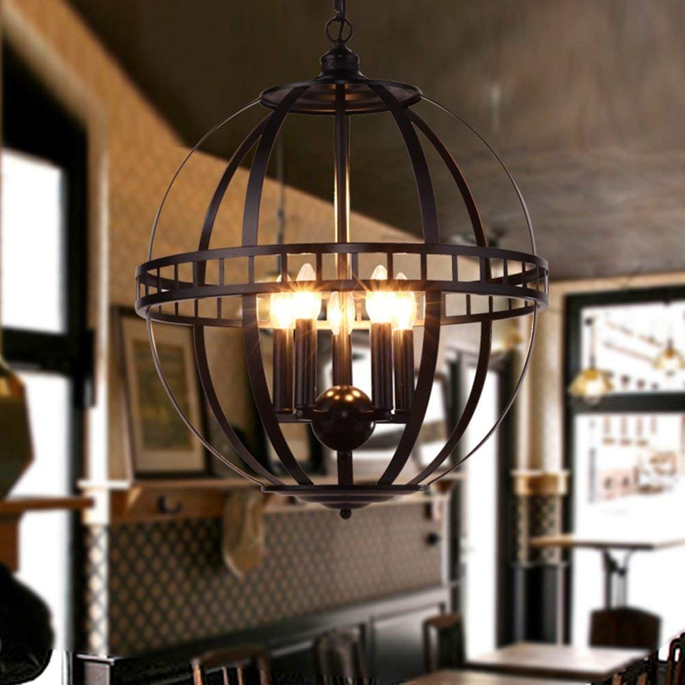 BAYCHEER HL444240 Industrial Vintage Style Creative Circle Chandelier Pendant Light Hanging Lamp Celling Lights Fixture with Metal Cage for Indoor Bar Restaurant Use 5 E12 Bulbs in Black -19.7 Inches