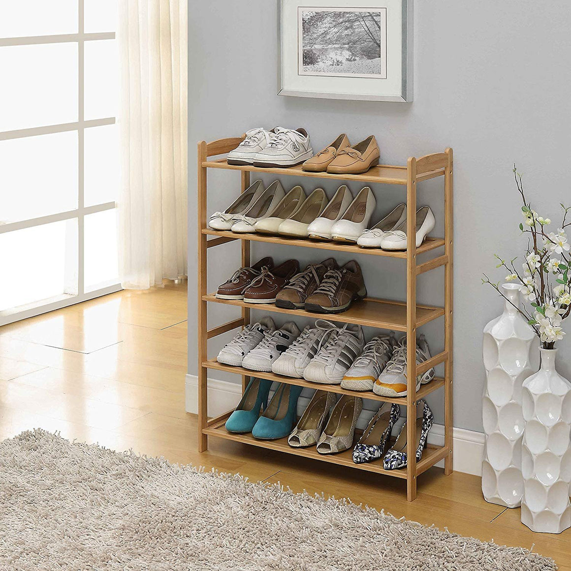 100% Natural Bamboo Wood 5-Tier Shoe Storage Racks Shelf Organizer