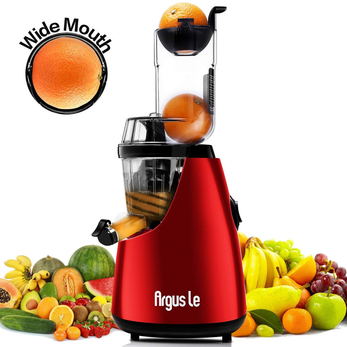 "Argus Le 3"" Big Mouth Whole Slow Masticating Juicer with Quiet Motor, Low Speed Cold Press Juice Extractor, 75mm Wide Chute Easy Cleaning Vertical Juicer Machine for High Nutrient Fruit and Veggies"