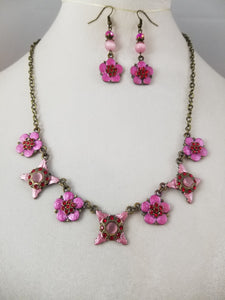 Pink Flowers Necklace with Earrings