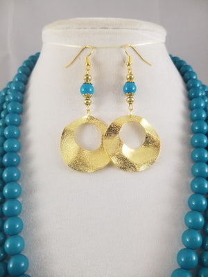 A Bunch of Blue Beads Necklace with Earrings