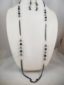 A Long Cool Black Necklace with Earrings