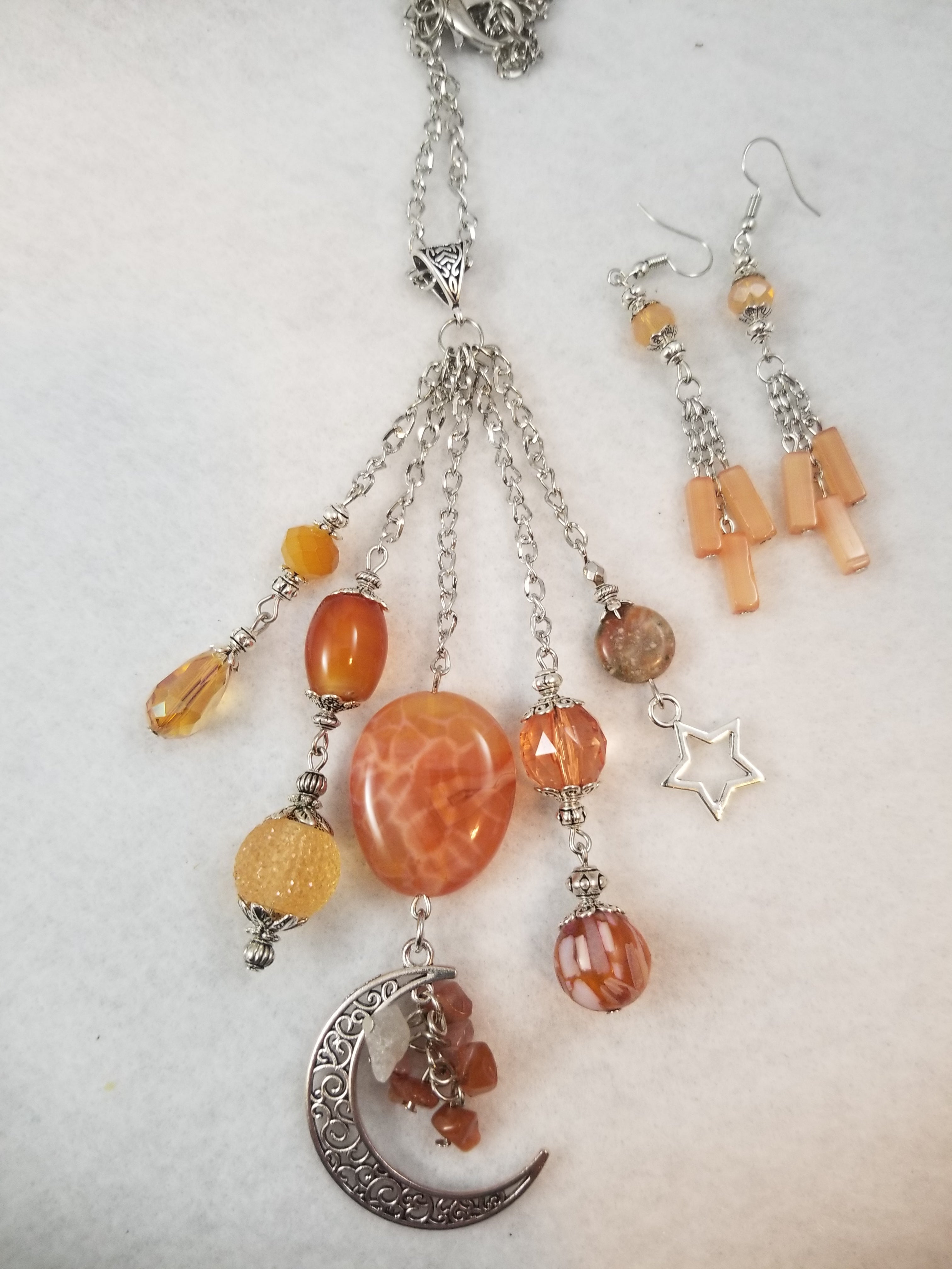 Autumn Moon Necklace with Earrings