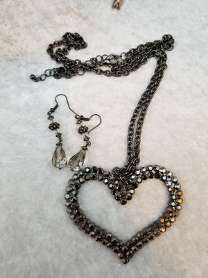 Big Heart Necklace with Earrings