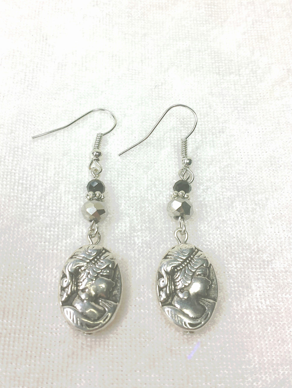 Black and Silver Cameo Earrings