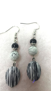 Black and White Zebra Earrings