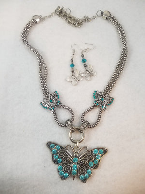 Blue Butterflies Necklace with Earrings