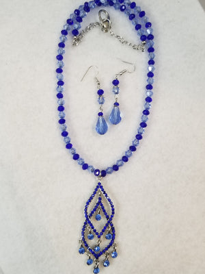 Blue Drop Necklace with Earrings