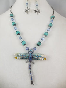 Blue Skimmer Necklace with Earrings