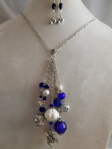 Blue Christmas Necklace with Earrings