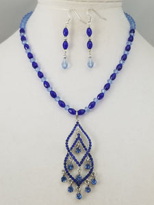 Blue Crystal Necklace with Earrings